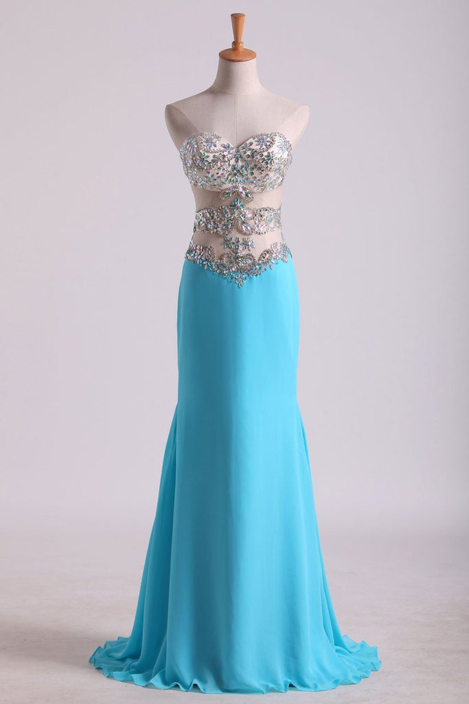Sweetheart Prom Dresses A Line Chiffon With Beading