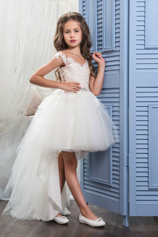 2019 Asymmetrical Scoop With Applique Flower Girl Dresses A Line Tulle