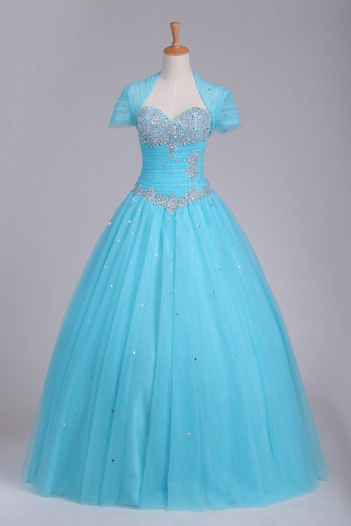 Quinceanera Dresses Sweetheart Tulle With Beads And Ruffles Ball Gown