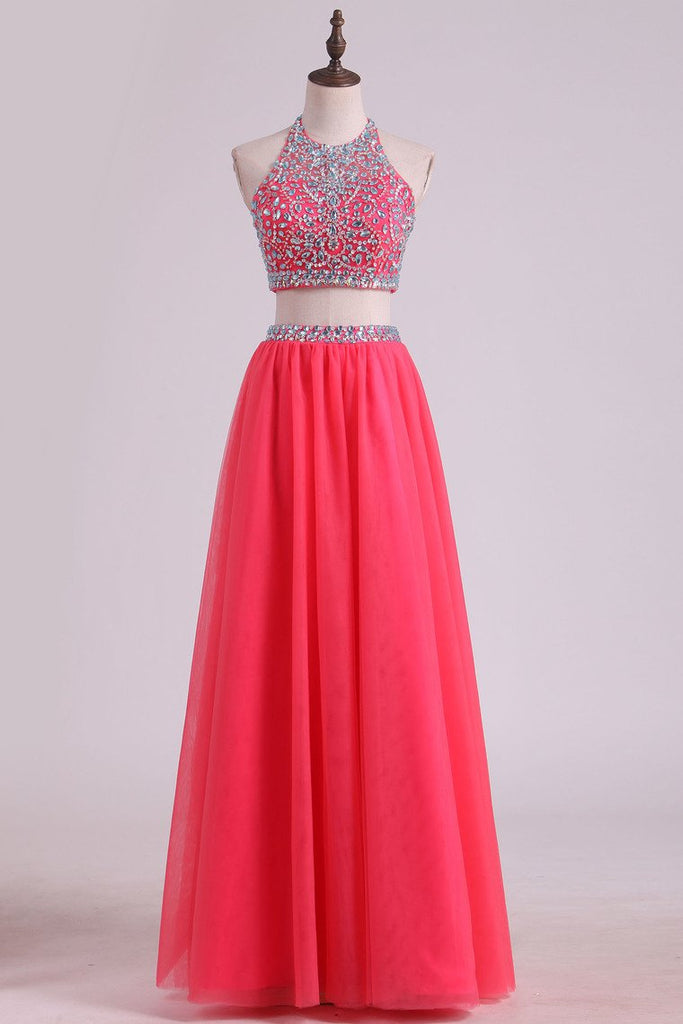 Two Pieces Halter Prom Dresses A Line Tulle With Beading Floor Length