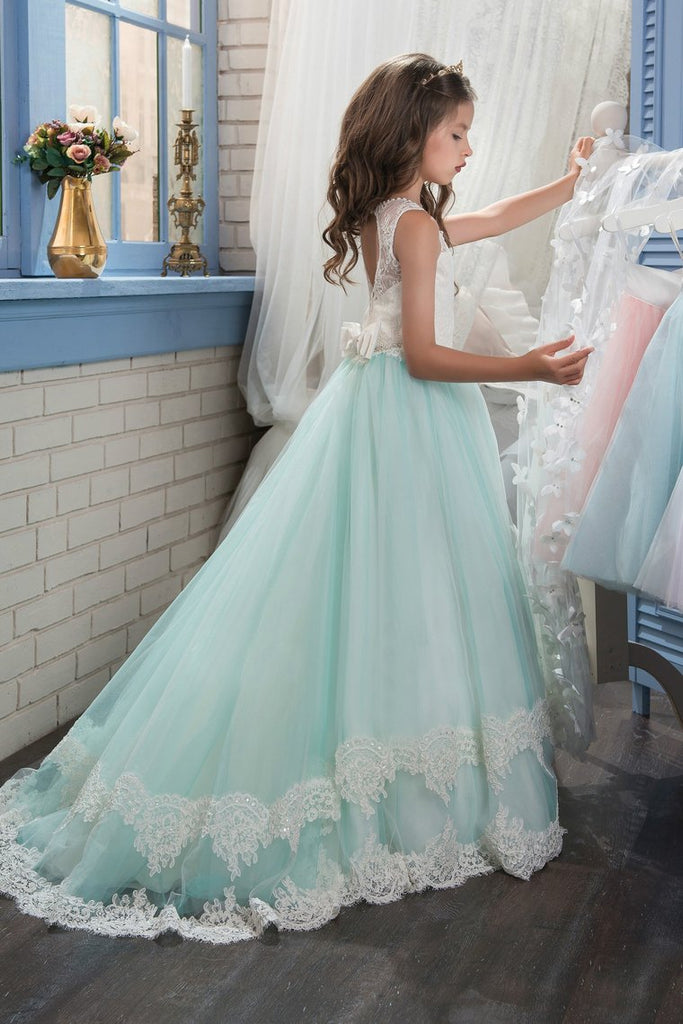 A Line Tulle With Applique Flower Girl Dresses Scoop Sweep Train
