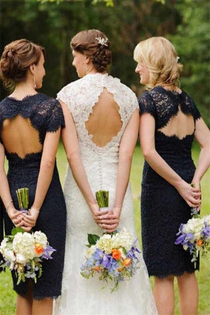 Sheath Navy Blue Open Back Lace Bridesmaid Dresses Wedding Party Dresses