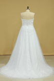 Plus Size Sweetheart Beaded Bust Empire Waist A Line Wedding Dress Chapel Train Tulle With Lace