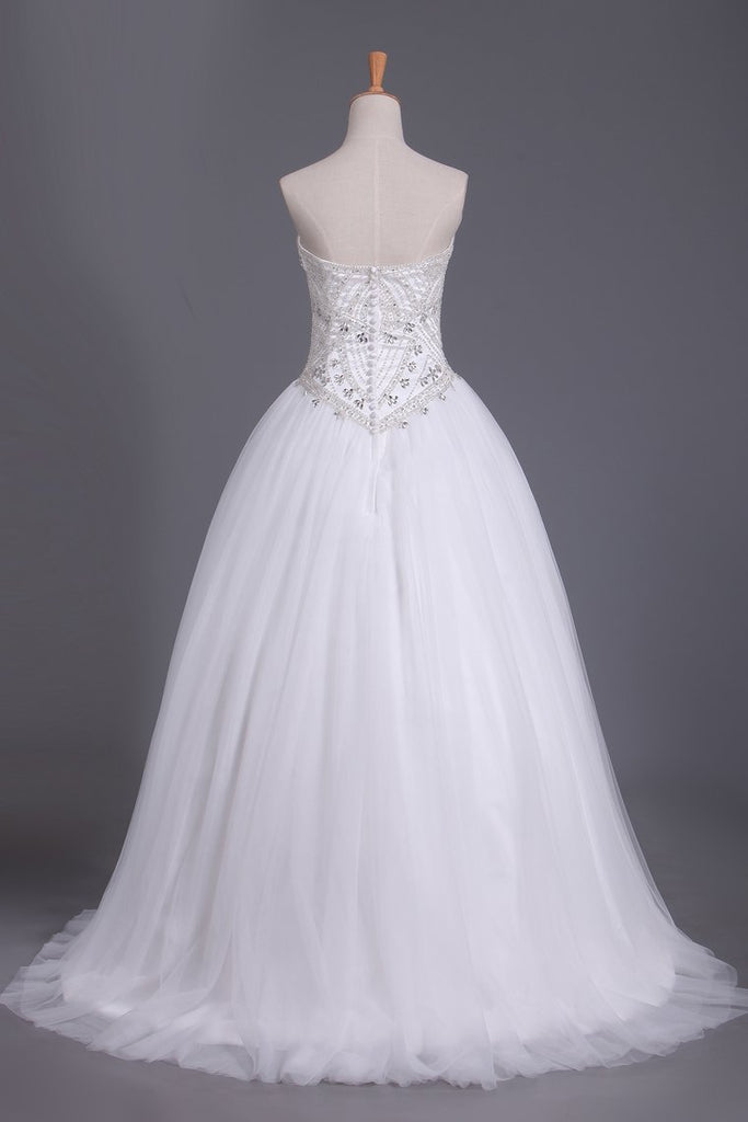 Sweetheart Tulle Wedding Dresses A Line With Beading Court Train