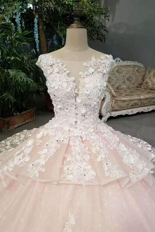 2019 New Arrival Marvelous Floral Wedding Dresses Lace Up Scoop Neck With Appliques