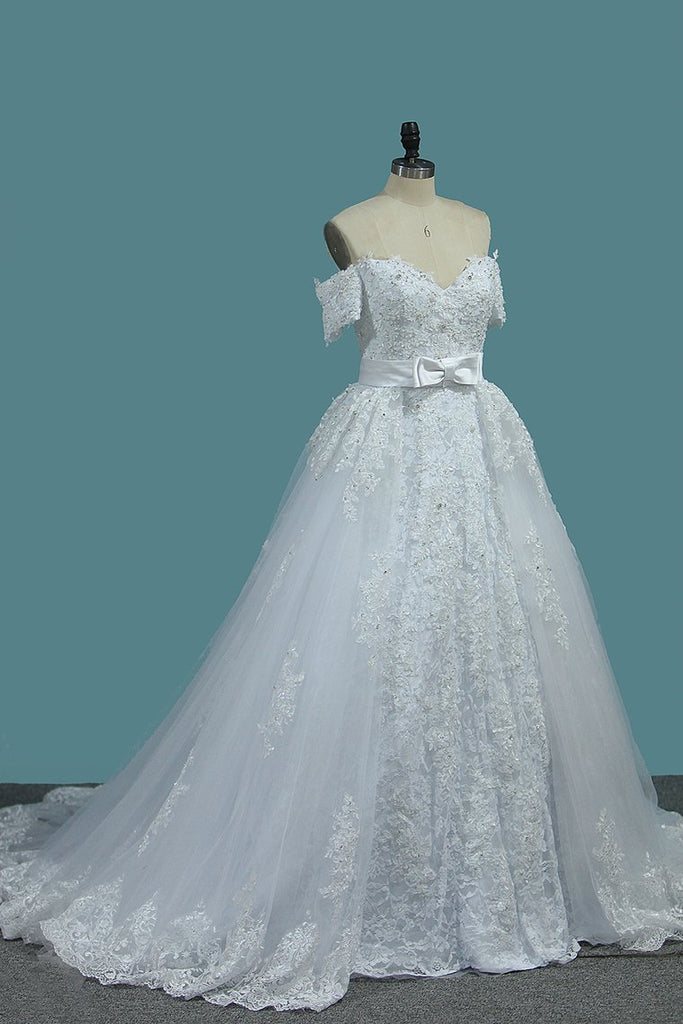 Sheath Tulle Off The Shoulder Wedding Dresses With Applique And Beads