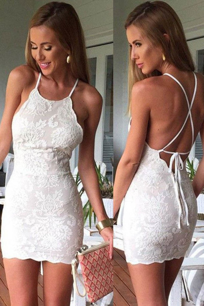 Cocktail Dresses Sheath Spaghetti Straps Lace Open Back Short/Mini