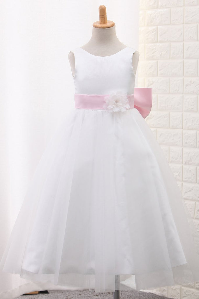 Hot Selling Tulle Scoop Flower Girl Dresses Ball Gown Ankle Length
