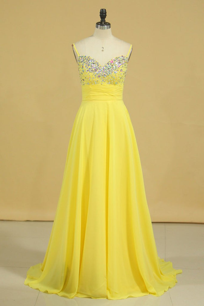 Prom Dress Spaghetti Straps Rhinestone Beaded Bodice Runched Waistband With Flowing Chiffon Skirt