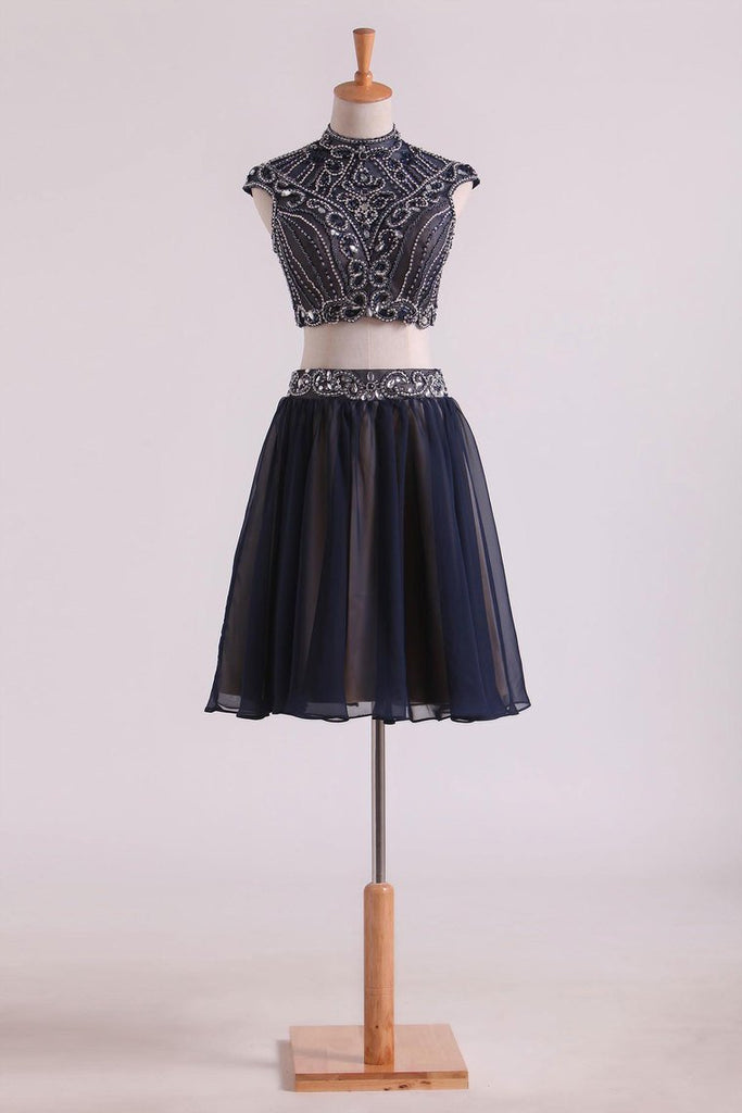 Two-Piece High Neck A Line Short/Mini Homecoming Dresses Tulle & Chiffon