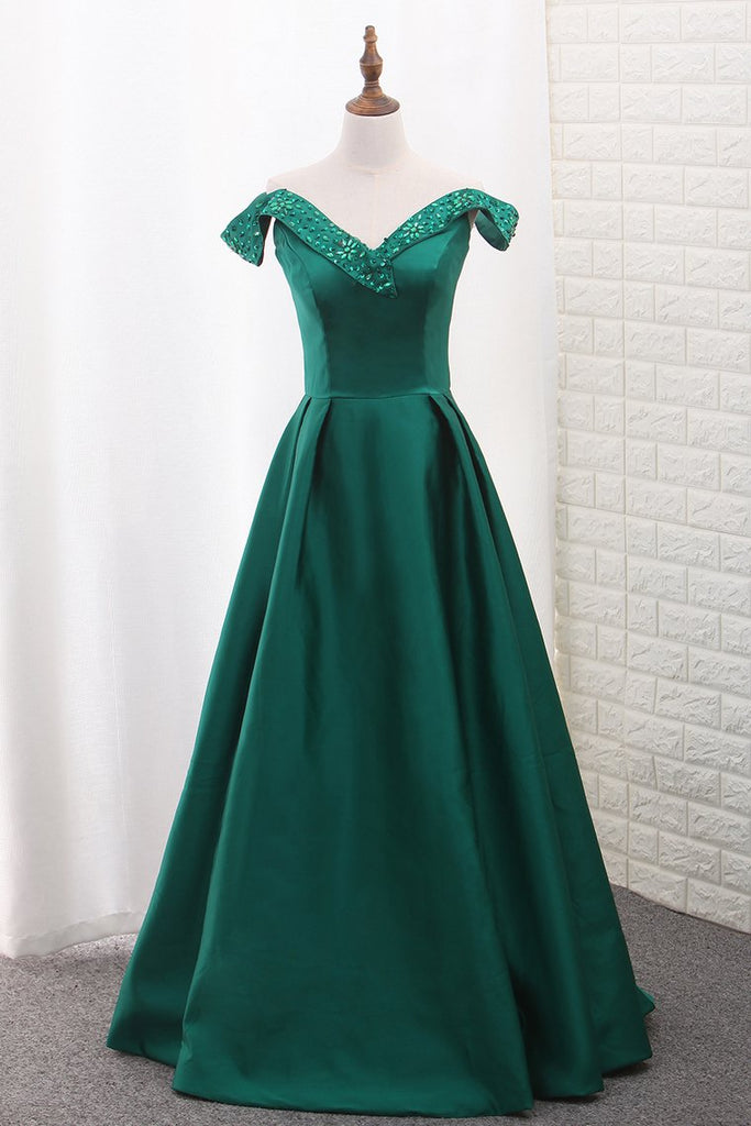 Satin Prom Dresses A Line Off The Shoulder With Beading New Arrival