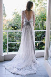 Pretty Long Open Back Half Sleeves Elegant Prom Dresses Wedding Dresses