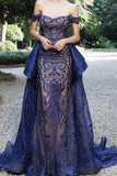 Luxurious Mermaid Off The Shoulder Prom Dresses Lace Sweep Train