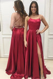 A Line Red Sexy Side Slit Cheap Long Prom Dresses Stunning Evening Dresses