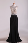 Two-Piece Scoop Column Prom Dresses Beaded Bodice Chiffon