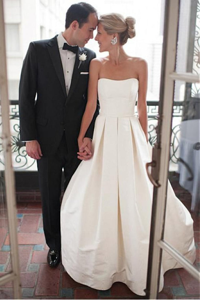 A Line Scalloped Neck Satin Zipeer Up Court Train Wedding Dresses