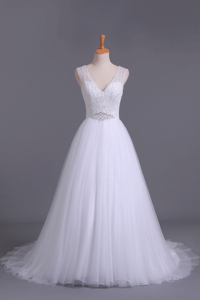 V-Neck A Line Wedding Dresses Tulle Beaded Bodice Court Train