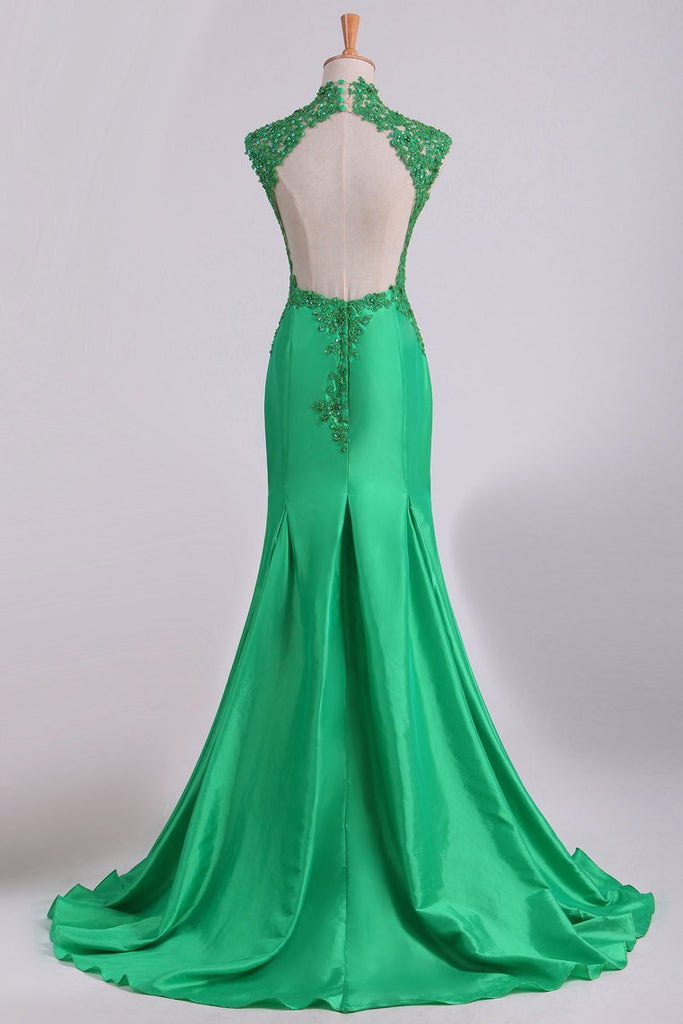 High Neck Open Back Prom Dresses Taffeta With Beads And Applique Mermaid
