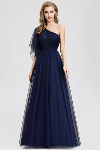 Simple A Line One Shoulder Navy Blue Tulle Prom Dresses Cheap Formal Dresses SJS15382