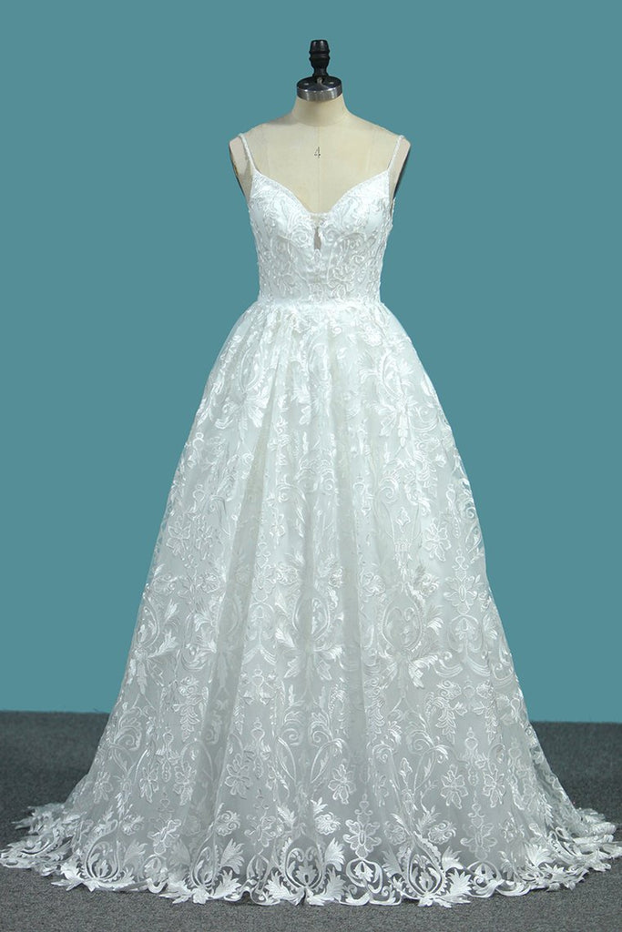 A Line Lace Wedding Dresses Spaghetti Straps With Beads Sweep Train