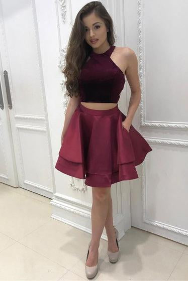 Burgundy Two Pieces Halter Satin Short Prom Dress with Pockets Homecoming Dresses JS913
