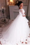 Ball Gown Lace Tulle 3/4 Sleeves Scoop White Lace up Wedding Gowns Wedding Dresses JS309