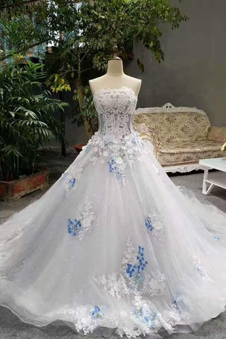 2019 Low Price Floor Length Wedding Dresses Lace Up Strapless With Handmade Butterfly