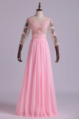 Mid-Length Sleeve A-Line Scoop Chiffon Prom Dresses Floor-Length With Applique & Bow-Knot