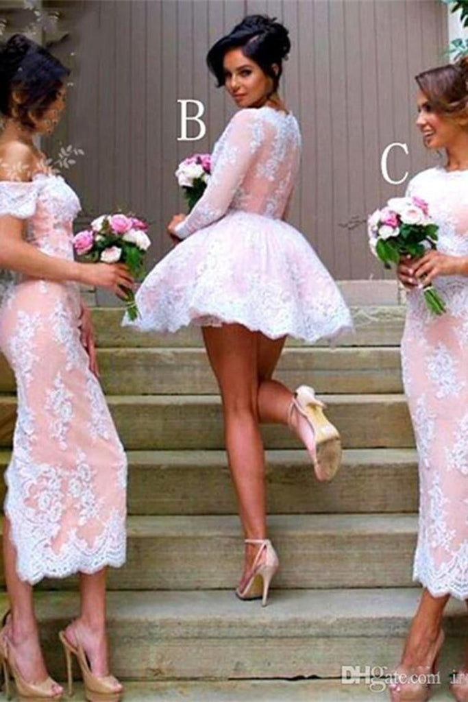 Beautiful Ivroy And Pink Lace Bridesmaid Dresses Prom Dresses Homecoming Dresses