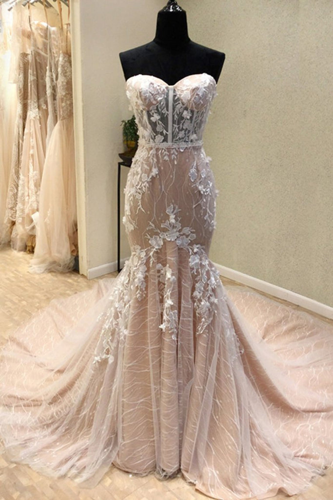 Charming Long Mermaid Sweetheart Lace Up Sheath Wedding Dresses