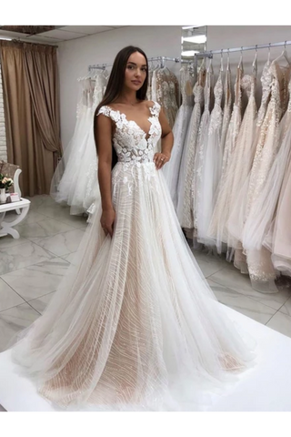 Timeless Lace Sparkly Sequins Tulle A-Line Wedding Dress With Appliques Gown