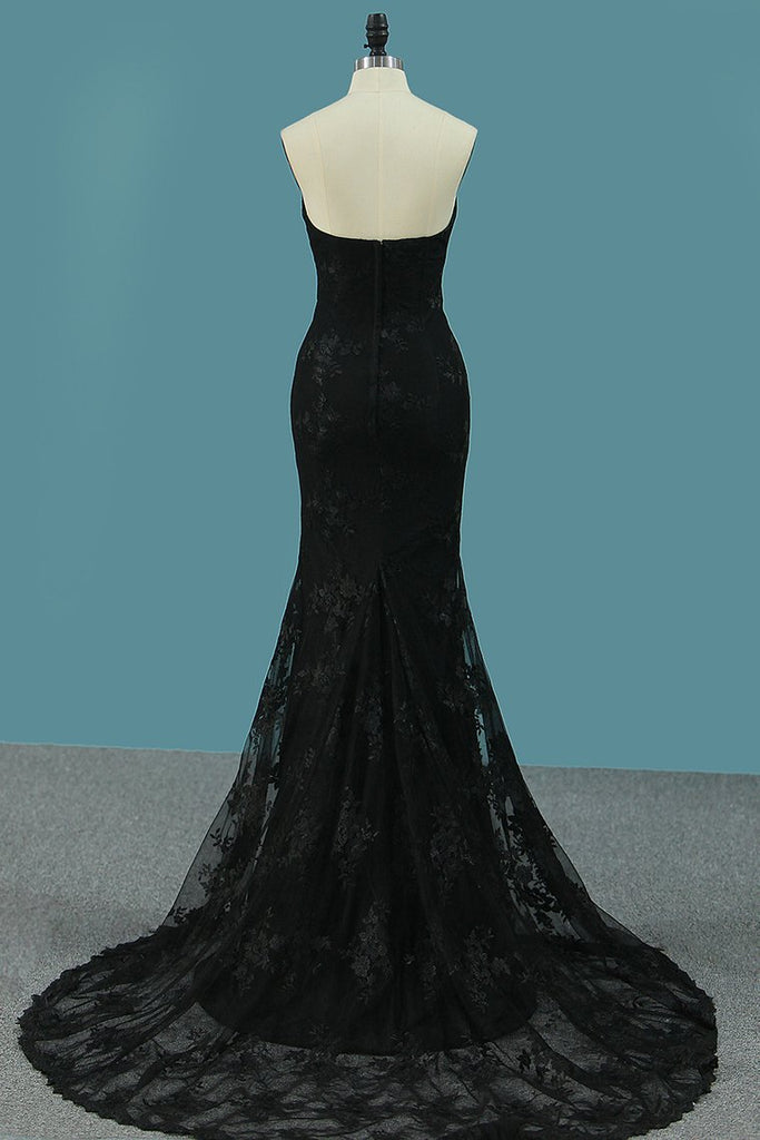 New Arrival Black Mermaid Lace Prom Dresses Sweetheart With Sweep Train