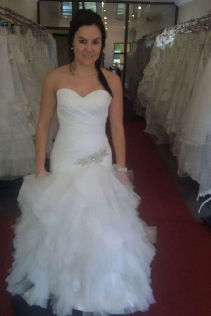 Mermaid Wedding Dresses Sweetheart Tulle With Beading & Ruffles