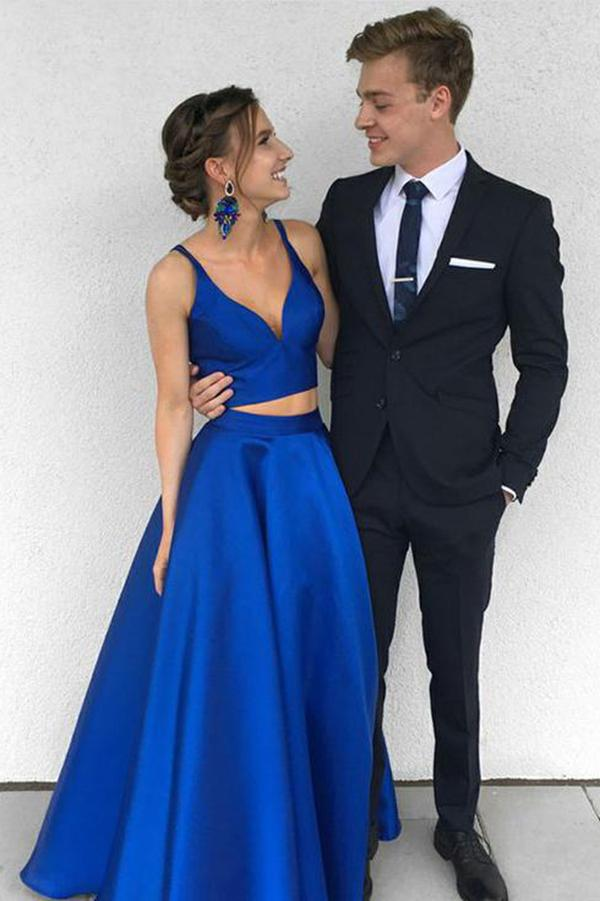 A Line Two Pieces Spaghetti Straps Simple Long Cheap V Neck Blue Sleeveless Prom Dress JS637