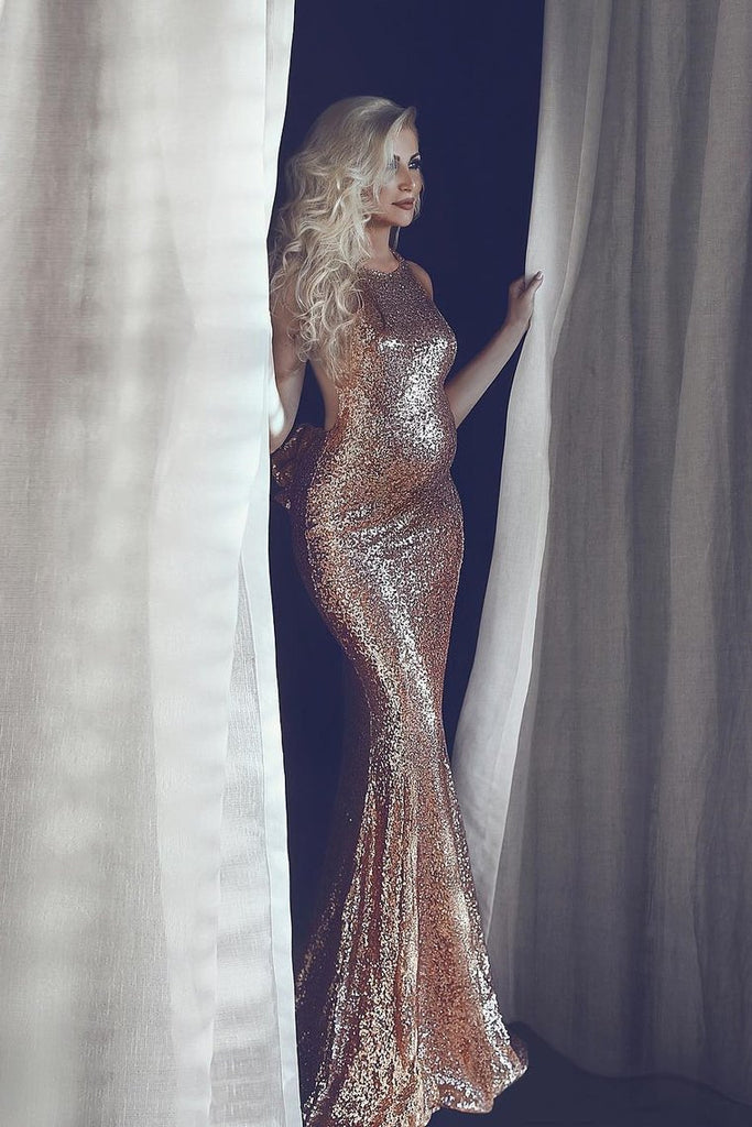 Sexy Open Back Pregnant Prom Dresses Scoop Mermaid Sequin Sweep Train
