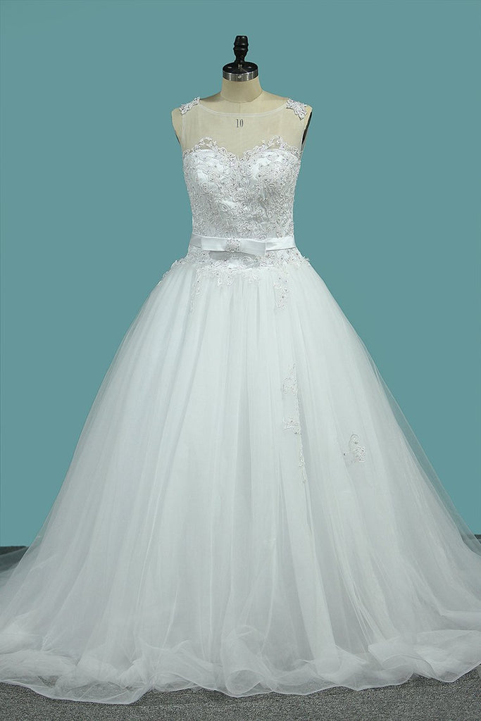 Wedding Dress A-Line Scoop Tulle With Applique And Sash Court Train