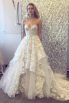 A-line 3D Lace Appliques V Neck Strapless Wedding Dresses Chapel Train Wedding Gowns PW924