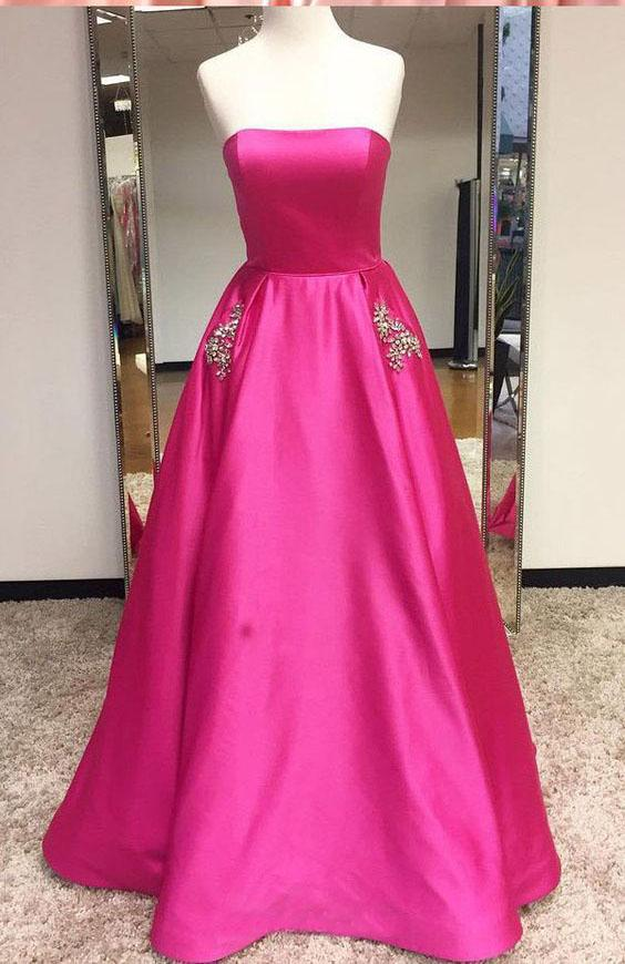 A-Line Satin Strapless Princess Floor-length Beading with Pockets Sleeveless Prom Dresses JS471