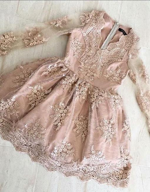 A Line V neck Lace Short Prom Dress Long Sleeve Satin Appliques Homecoming Dresses JS694