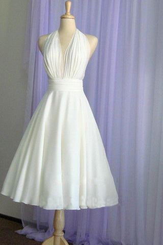 Halter Tea Length A Line Backless Chiffon with Pleated Bodice Wedding Dresses JS278