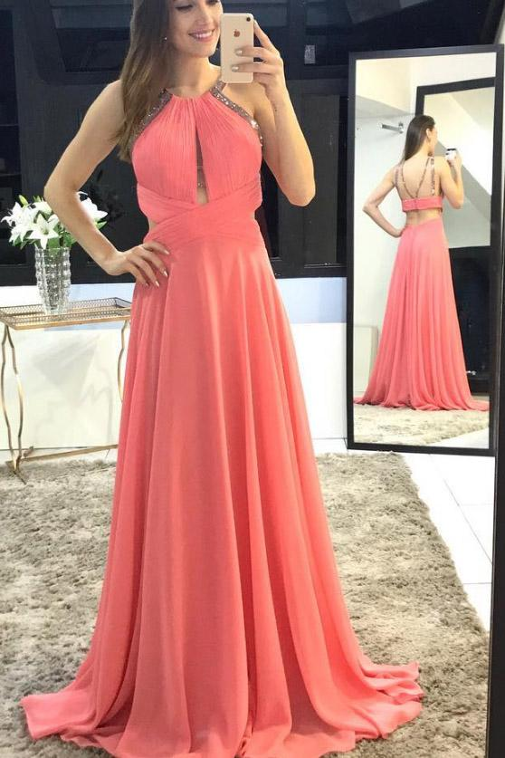 Charming Scoop A-Line Long Watermelon Chiffon Backless Sleeveless Prom Dresses JS318