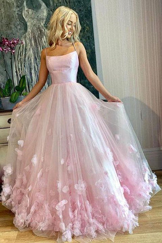 Princess Pink Spaghetti Straps Prom Dresses Scoop Long Cheap Dance Dress with Flowers P1058
