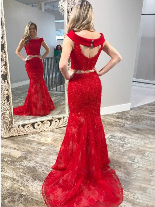 Charming Red Sleeveless Mermaid Open Back Sexy Prom Dresses JS173