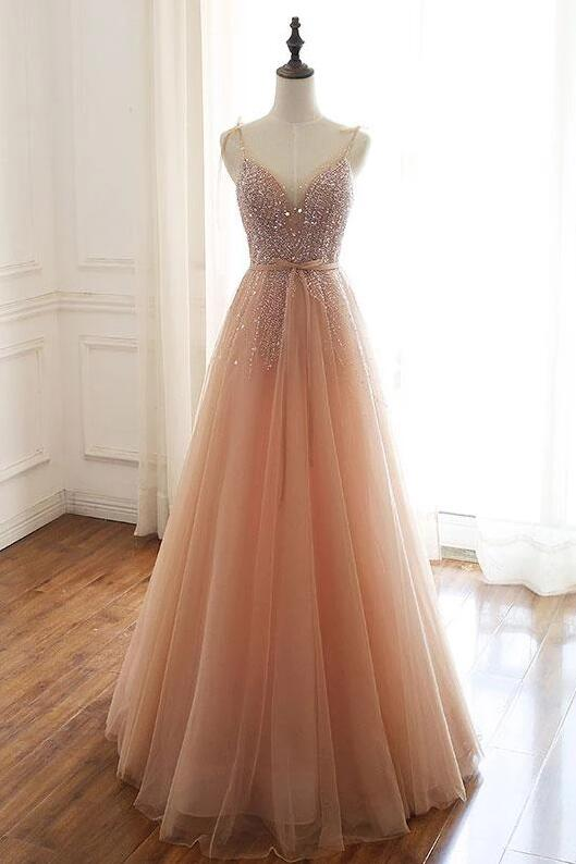 A-Line Blush Pink Tulle Cheap Sleeveless Beads Zipper Prom Dresses