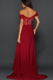 Burgundy A-Line Off-the-Shoulder Sleeveless Sweetheart High Split Lace Long Prom Dresses UK JS283
