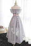 A Line Off Shoulder Grey High Low Homecoming Dress Cocktail Dresses Graduation Dresses JS94