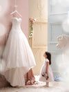 Charming Sweetheart Lace Appliques High-Low Tulle A-Line Wedding Gown JS116