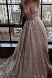 A-Line Deep V-Neck Court Train Open Back Sequined Prom Dress with Beading JS82