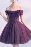 Cute A line Dark Purple Off-shoulder Short Sexy Appliqued Homecoming Dress with Beads JS173