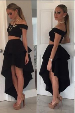 SexyTwo Pieces Modern Off the Shoulder A-Line Princess High Low Satin Homecoming Dresses JS875